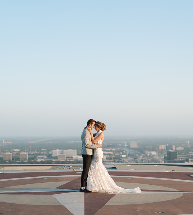 halter bridal gown, bride, groom, luxury, wedding editorial, inspiration, stephania campos, helicopter, helicopter pad, post oak hotel, uptown, houston