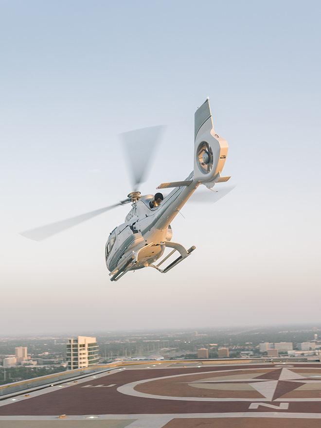 helicopter, helicopter pad, post oak hotel, uptown, houston, luxury, getaway