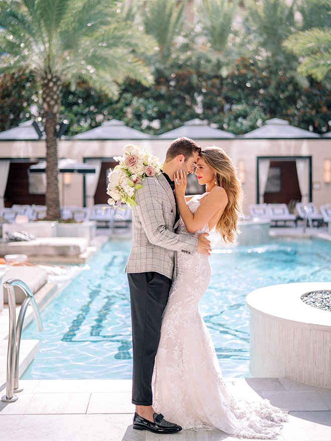 poolside, mira zwillinger, bridal gown, strapless, lace, bridal hair, bridal makeup, misty rockwell artistry, stephania campos, post oak hotel at uptown houston
