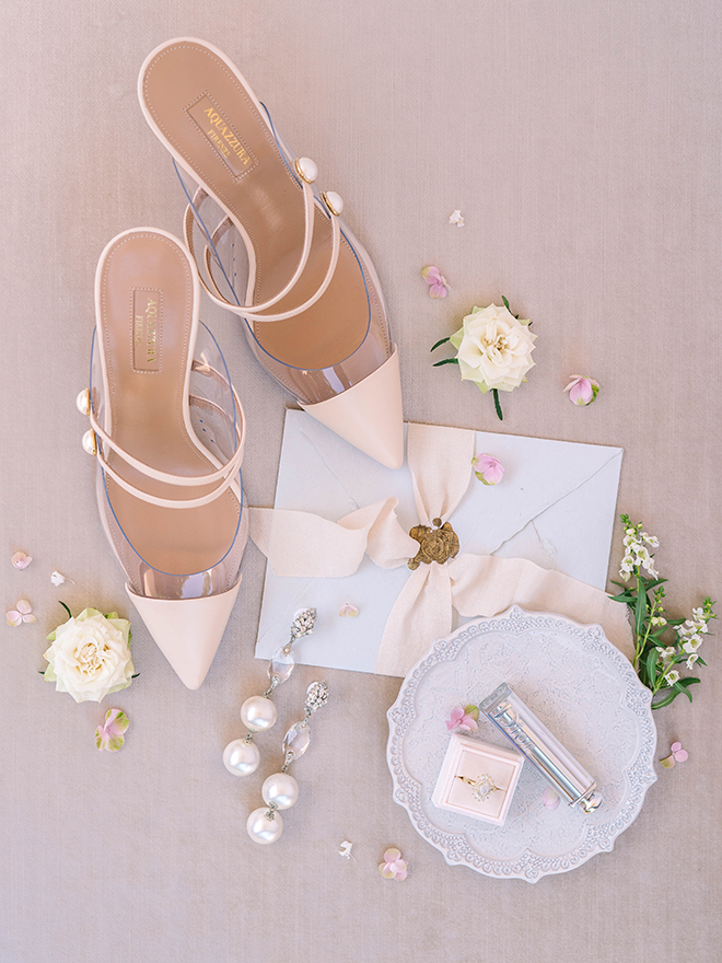 bridal shoes, blush, pearl earrings, engagement ring, engagement ring box, flat lay, stephania campos photography