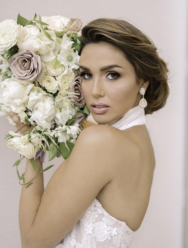 bridal portrait, halter bridal gown, galia lahav, misty rockwell artistry, bridal hair, bridal makeup, updo, natural, blush, white, ivory, bridal bouquet, luxury wedding, editorial, inspiration
