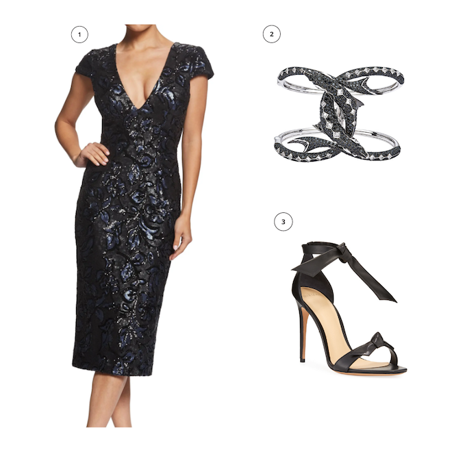 engagement shoot outfit, what to wear, ideas, black sequin dress, black diamond cuff, leather black ankle strap heels