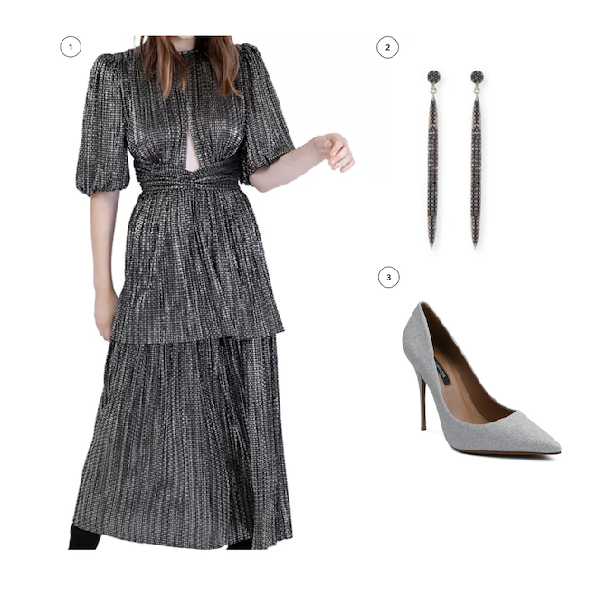 engagement shoot outfit, what to wear, ideas, metallic dress, spear dangling earrings, pointed toe pump silver glitter