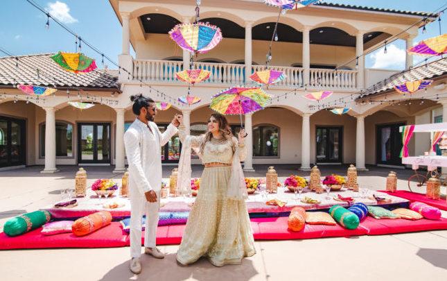 South indian, bolster, umbrellas, lights, stucco, gold, lantern, colorful, outdoor, venue, jade, pink, orange, glass, villa, couple, Palm Royal Villa