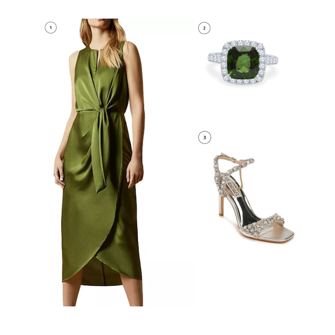 engagement shoot outfit, what to wear, ideas, green keyhole dress, green diamond ring, diamond strap heels