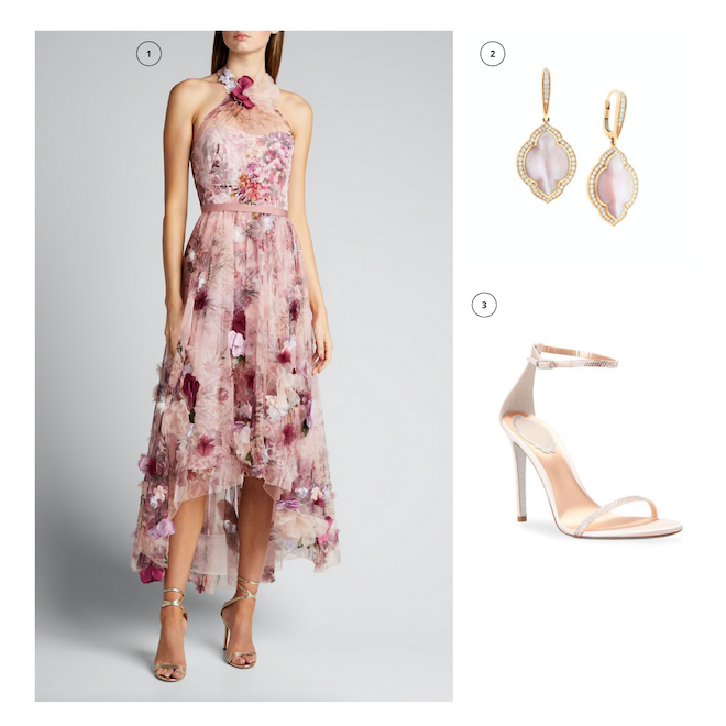 engagement shoot outfit, what to wear, ideas, floral dress, spring dress, pink, rose gold earrings, diamonds, ankle-strap shoes, i w marks jewelers
