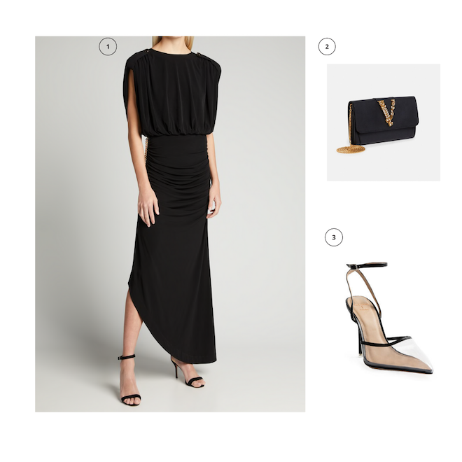what to wear, ideas, open back black dress, versace gold chain wallet, black transparent pointed heels