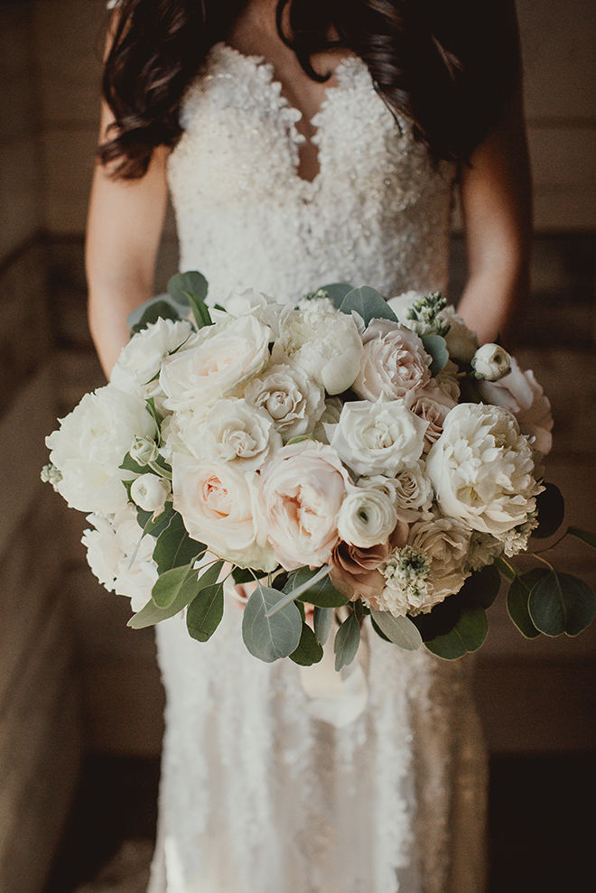 bridal bouquet, flowers, blush, ivory, roses, eucalyptus