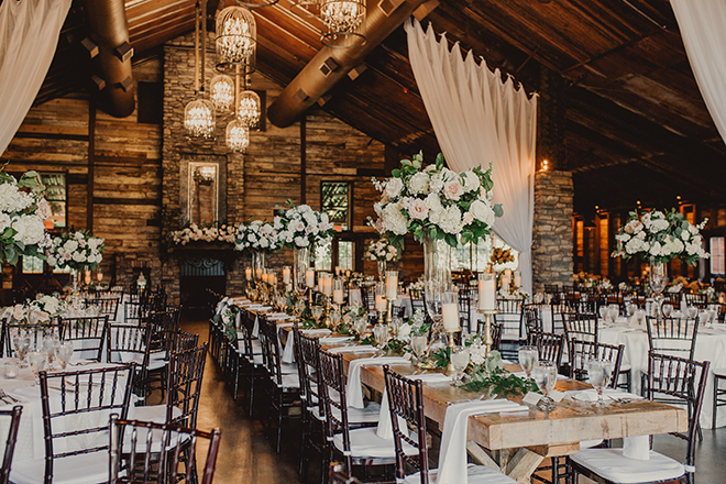 summer wedding, reception decor, white linens, blush, ivory, floral centerpieces, big sky barn, rustic wedding venue