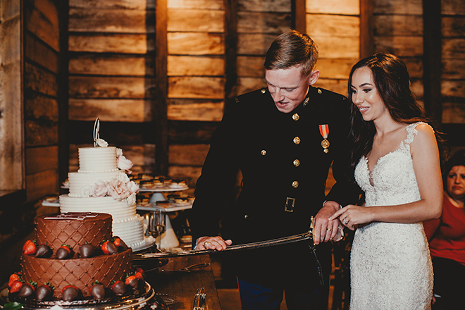marine's tradition, cutting the cake, sword, groom's cake