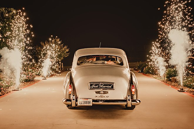 sparkler, send off, getaway car, vintage car, bride, groom, grand exit