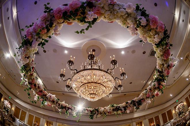 floral chandelier, unique reception decor, plants n petals, pink, white, cream, greenery