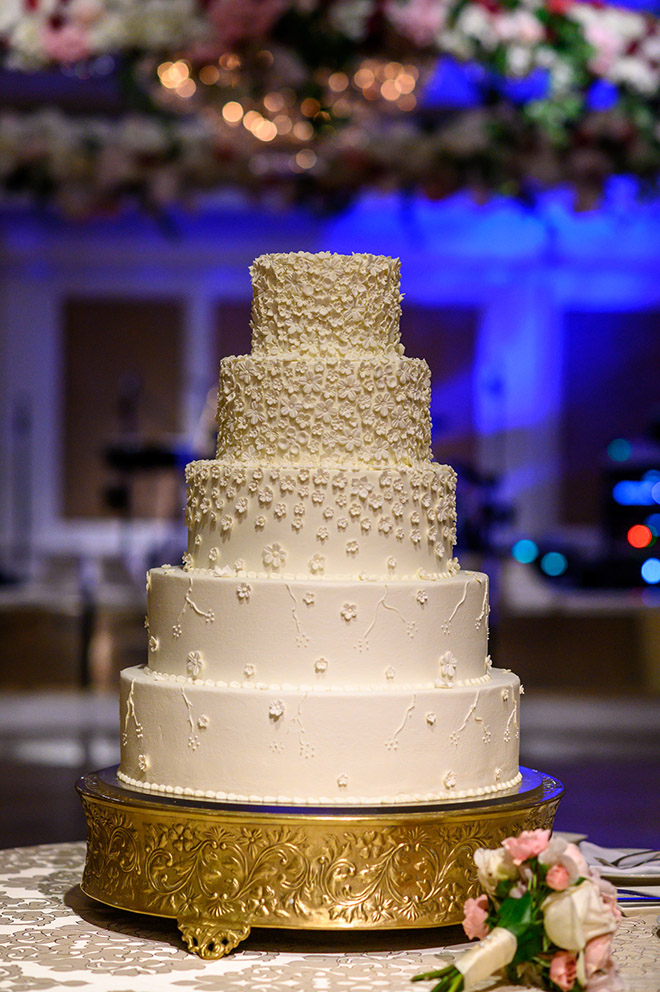 white wedding cake, floral accents, five tiers, susie's cakes, elegant