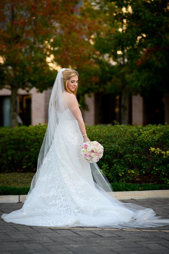 long veil, bridal gown, strapless, floral embroidery, bridal portrait, bridal bouquet, pink, white, creams
