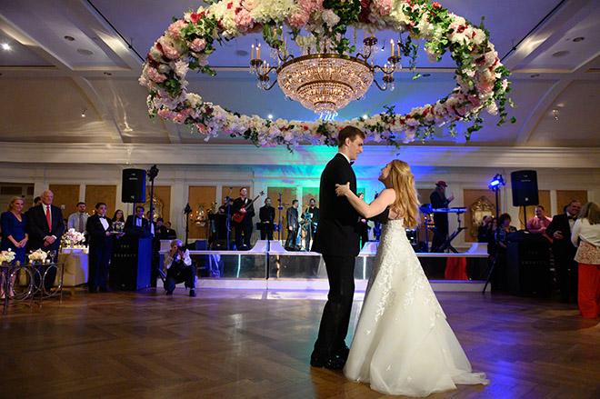 floral chandelier, unique reception decor, plants n petals, pink, white, cream, greenery, bride, groom, first dance