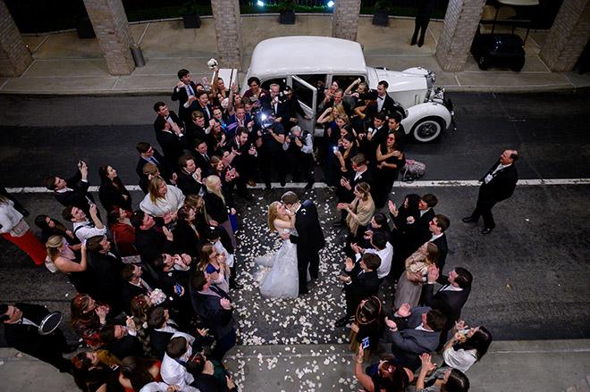 wedding sendoff, grand exit, rose petal toss, vintage rolls royce