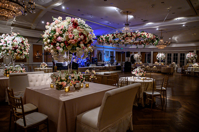country club, reception decor, plants n petals, tall wedding centerpieces, floral centerpieces, white, cream, pink