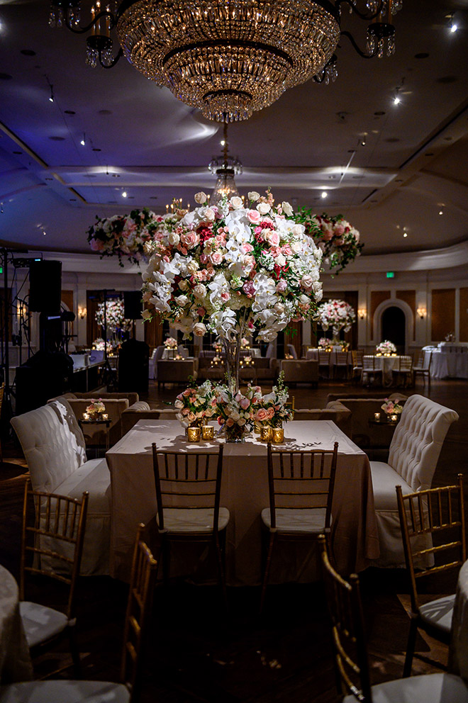 country club, reception decor, plants n petals, classic wedding, tall wedding centerpieces, floral centerpieces, white, cream, pink. wedding table, candles