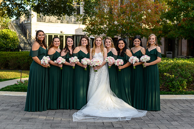 long veil, bridal gown, strapless, floral embroidery, bridal party, bridesmaids, bride tribe, green bridesmaids dresses, off the shoulder, bridal bouquet, pink, white