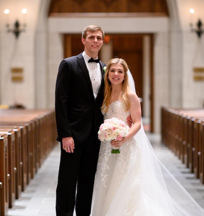 classic wedding, couple portrait, bridal bouquet, groom's suit, black, bowtie, pink, white, creams