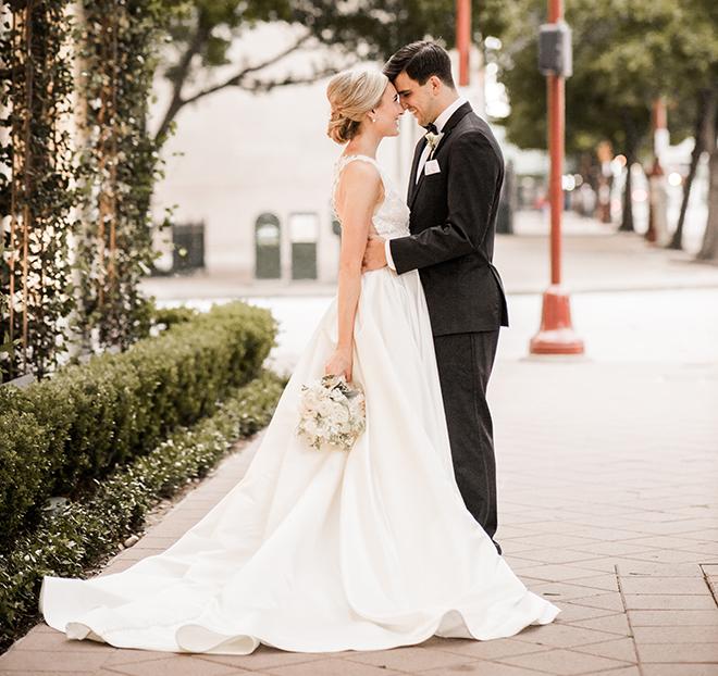 bridal bouquet, white, ivy, groom, bridal up-do, janelle alexis salon, groom's suit, bowtie, elegant