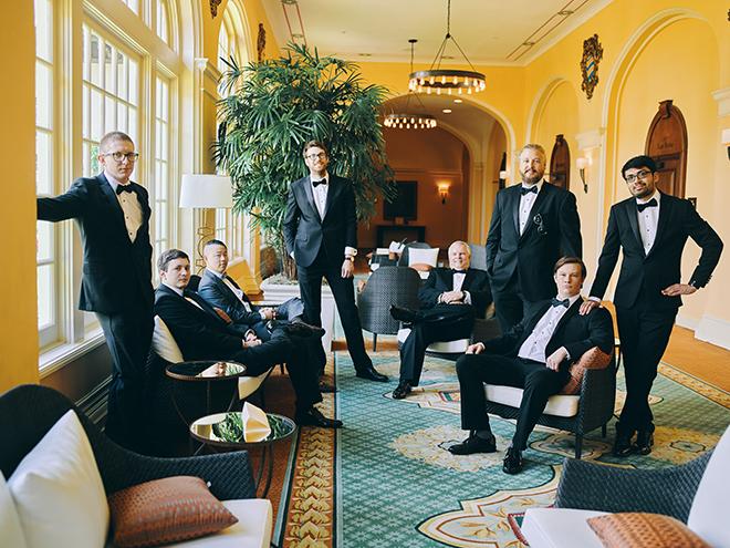 groom, groomsmen, groomswear, groom's suit, black bow tie, hotel galvez & spa