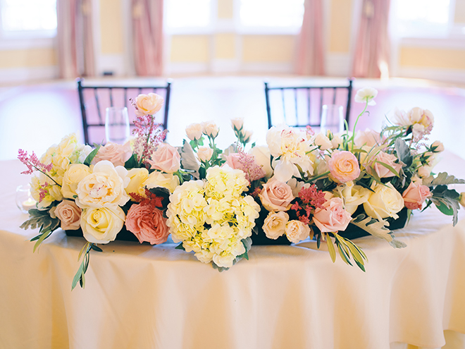 sage, pink, green, peach, creams, sweethears table, his her table, peach linens, flowers