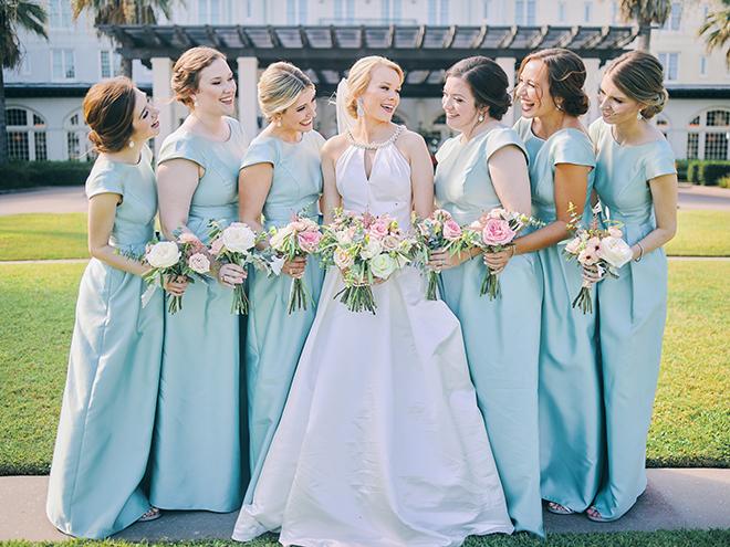 blue bridesmaids dresses, wedding bouquet, pink, peach, sage, creams,