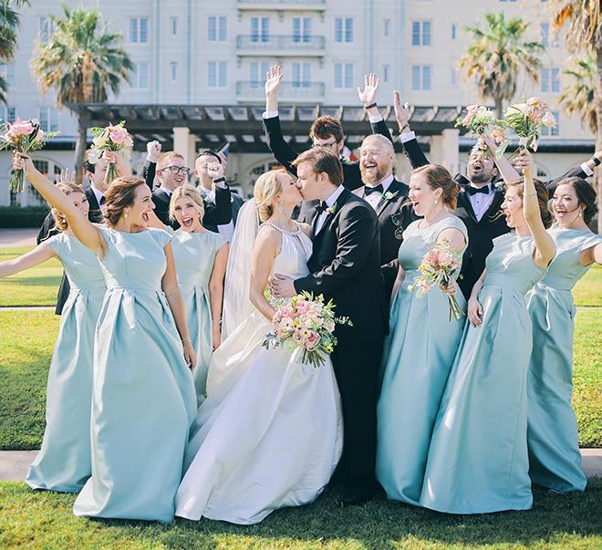 daytime wedding, intimate, covid-19, blue bridesmaids dresses, wedding bouquet, pink, peach, sage, creams, wedding party