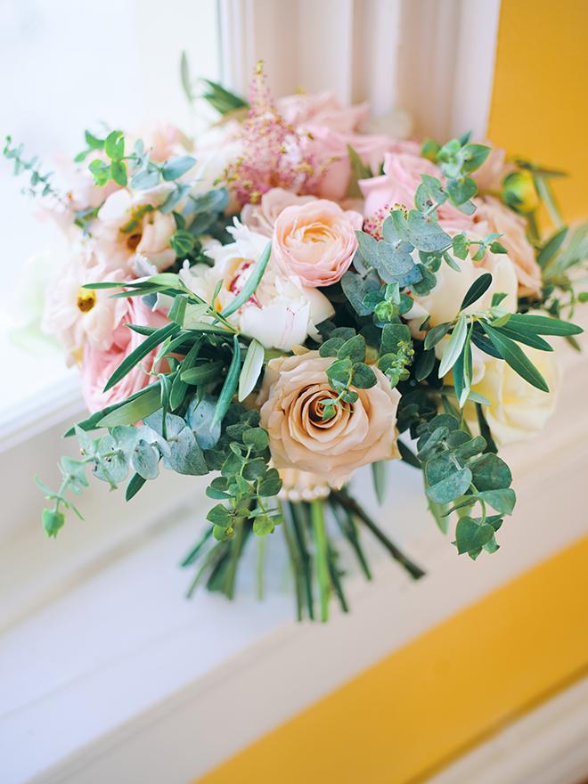 wedding bouquet, pink, peach, sage, creams, roses, greenery
