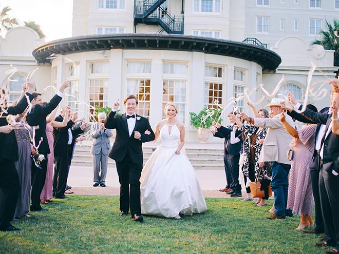 streamers, send off, bride, groom, grand exit, hotel galvez