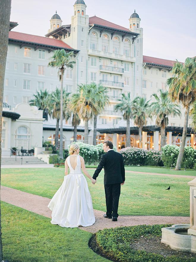 pink, peach, sage, creams, bride and groom portraits, hotel galvez & spa