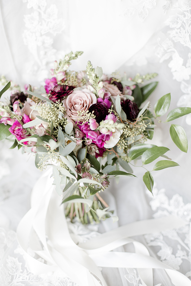 bridal bouquet, mauve, blush, greenery, roses, purple