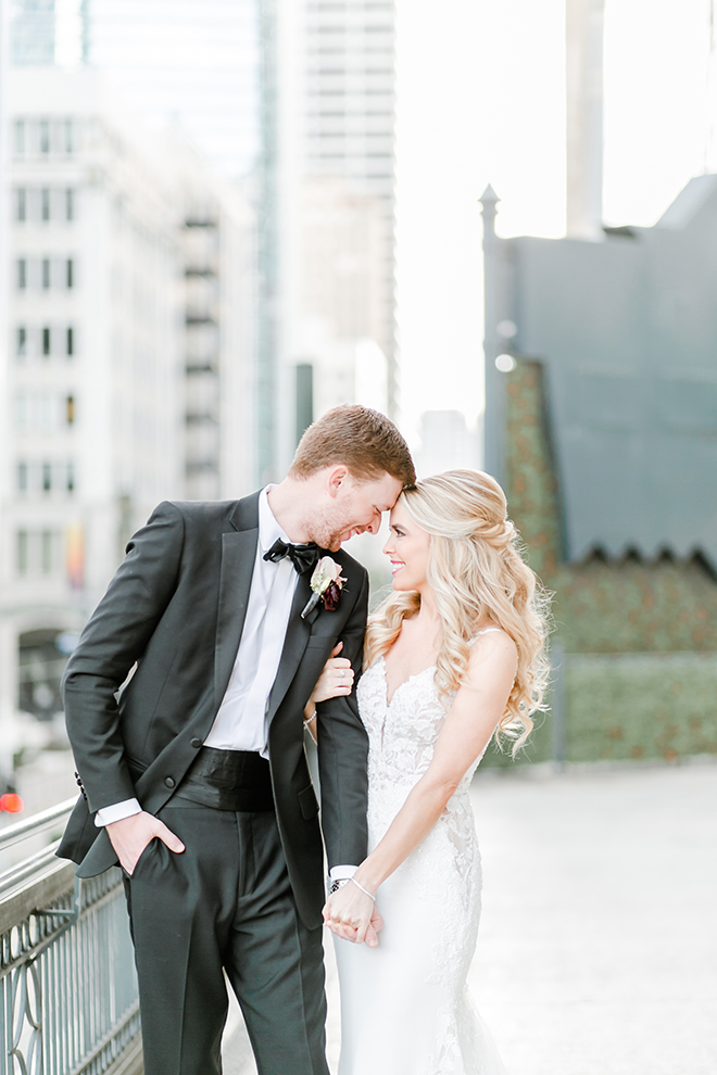 couple portrait, outdoor photography, bridal bouquet, bride, groom, bridal hair, groomswear, mauve, blush, black bowtie