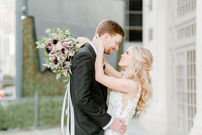 couple portrait, outdoor photography, bridal bouquet, bride, groom, bridal hair, groomswear, blush