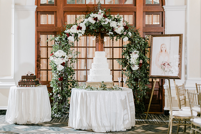 cake display, ceremony altar, floral arch, wedding cake, groom's cake, white, chocolate