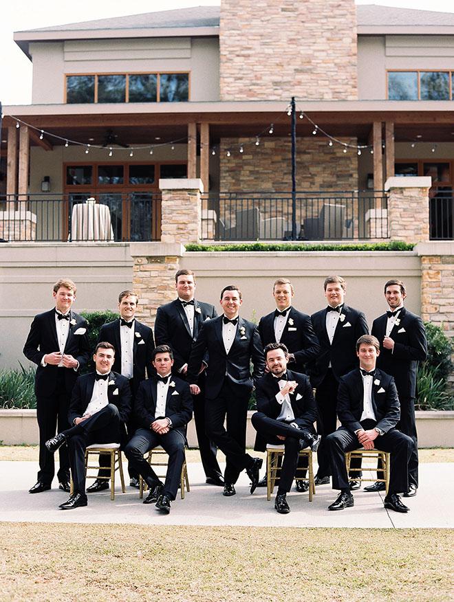 Timeless And Elegant, groomsmen photo, outdoor photo, the woodlands country club, groom, tuxedo, black classic tuxedo