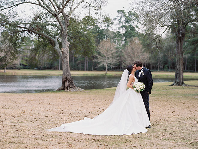 Timeless And Elegant, Couple portrait, outdoor photo, the woodlands country club, bridal bouquet, white flowers, tuxedo, bridal veil, long train dress, bride and groom photography