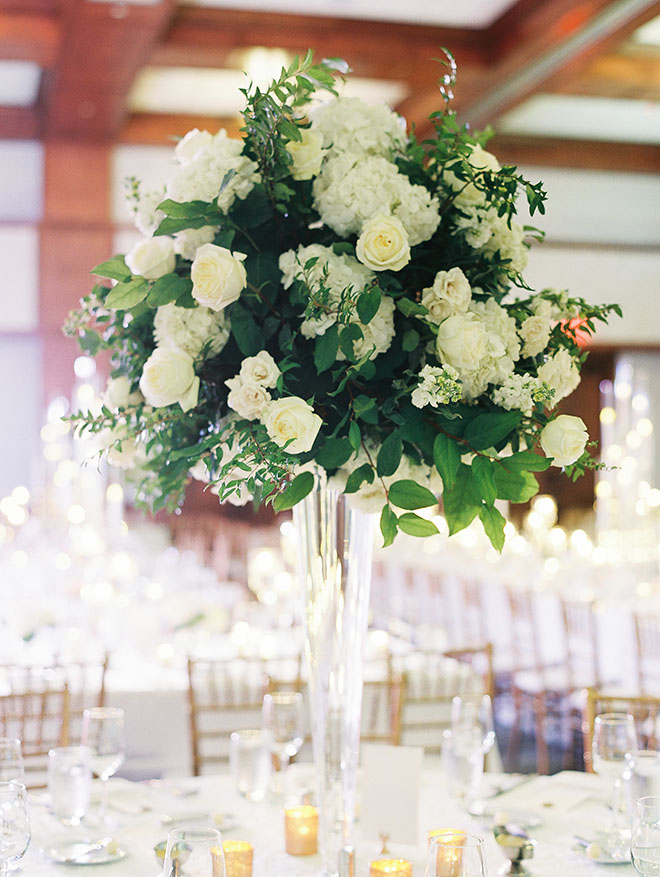 table decor, floral centerpiece, white floral decor, white flowers, candles, classic decorations