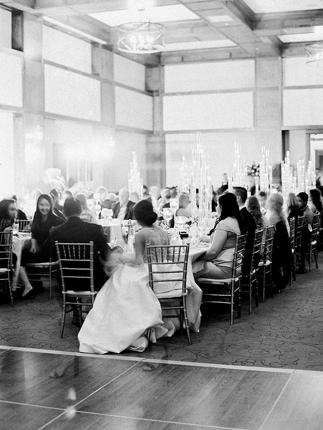 reception, catering, black and white portrait, family, venue, the woodlands country club, large event, candlelit reception