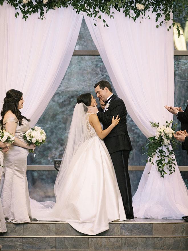 Couple portrait, ceremony, the woodlands country club, bridal bouquet, white flowers, tuxedo, bridal veil