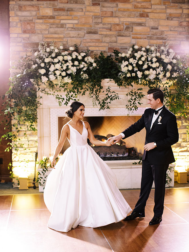 Timeless And Elegant, the woodlands country club, first dance, bride and groom, couple portrait, bridal dress, groom tuxedo, black tuxedo