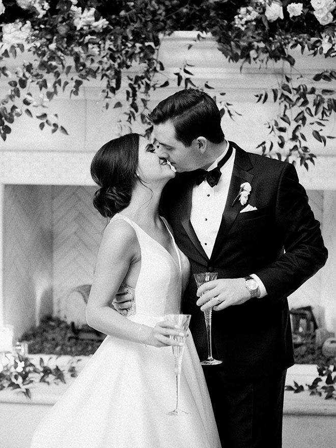 Timeless And Elegant, cheers, toast, bride and groom, couple portrait, black and white portrait, special occasion