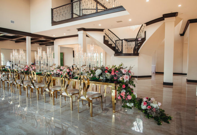 reception, table, gold, contemporary, glass, marble, staircase, roses, candles, chairs, cream