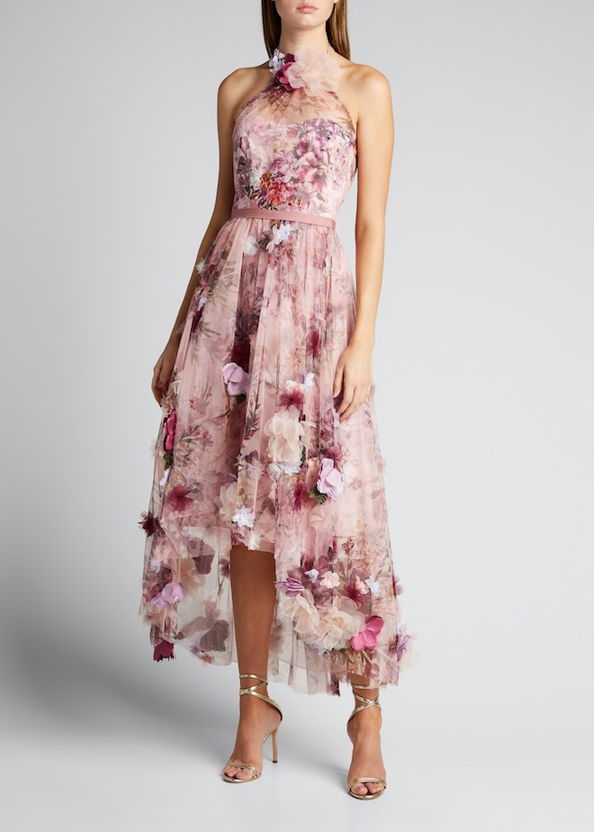 Floral dress, halter dress, tulle, high-low, marchesa notte, pink dress, spring dress