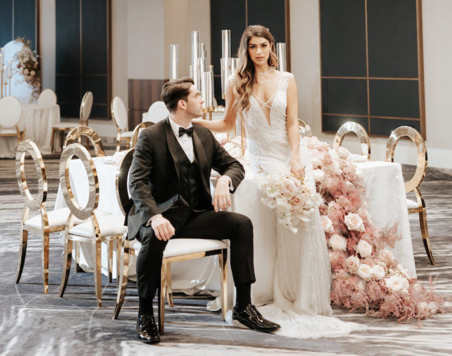 bride, groom, Malleret Designs, blush, mauve, gold, Avalon Rentals, tablescape, wedding table, muted colors, wedding trends, Four Seasons Hotel Houston