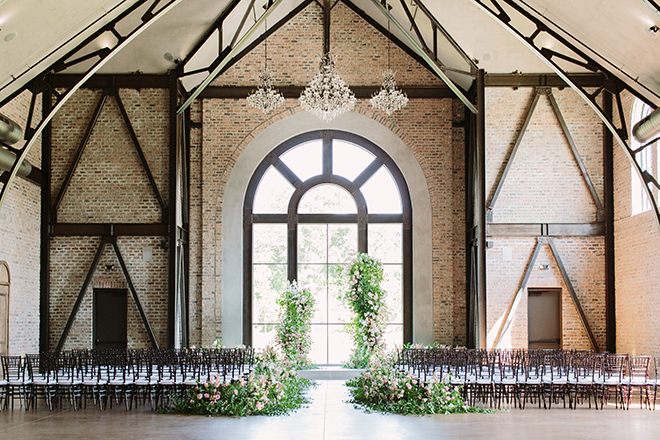 white roses, fairytale wedding, greenery, iron manor, plants n petals, plants n petals, ceremony decor, on site chapel, asymmetrical floral altar, arch