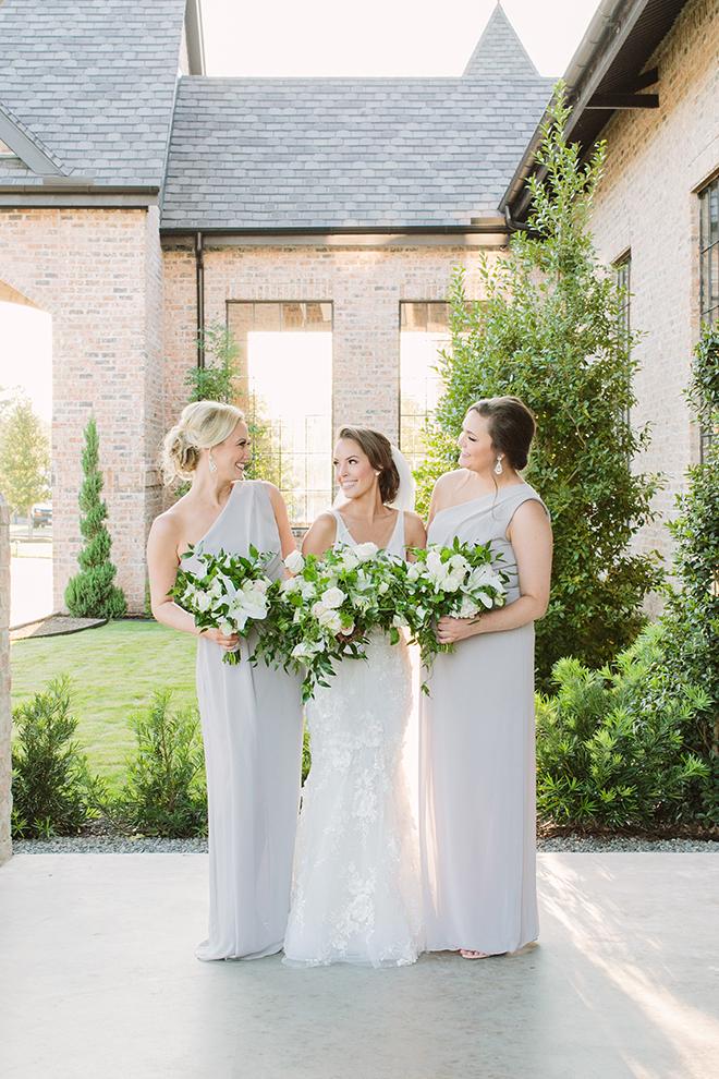 white roses, greenery, iron manor, plants n petals, plants n petals, bridesmaids, bride tribe, gray bridesmaids dresses, bridal bouquet