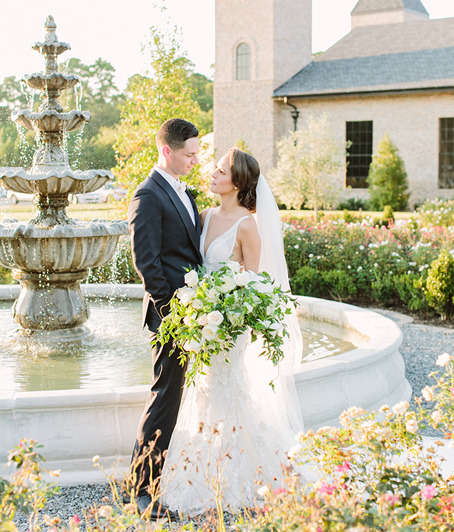 white roses, greenery, iron manor, plants n petals, fairytale wedding, plants n petals, bride and groom portraits,
