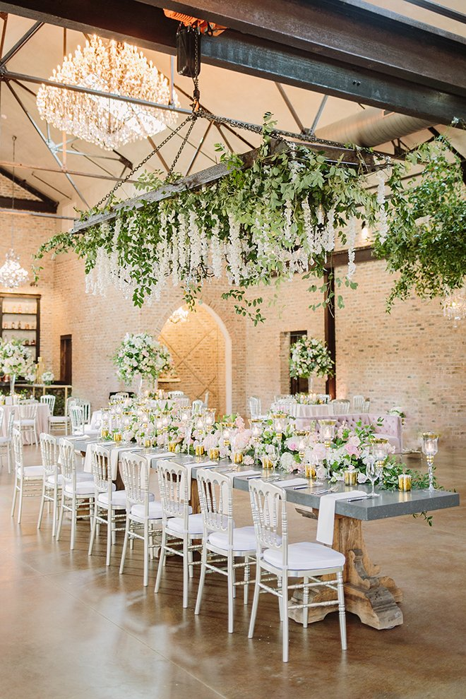 white roses, fairytale wedding, greenery, iron manor, plants n petals, plants n petals, reception decor, ceiling decor, flower garland, greenery garland, unique wedding decor, wedding table, long